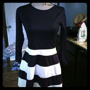 One piece multi black and white dress